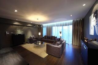 灰色现代简约三居客厅装修效果图