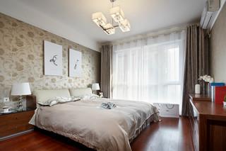 现代简中式三居卧室装修效果图