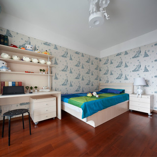 现代简中式三居儿童房装修效果图