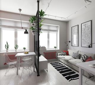 30平简约风公寓客餐厅隔断装修效果图