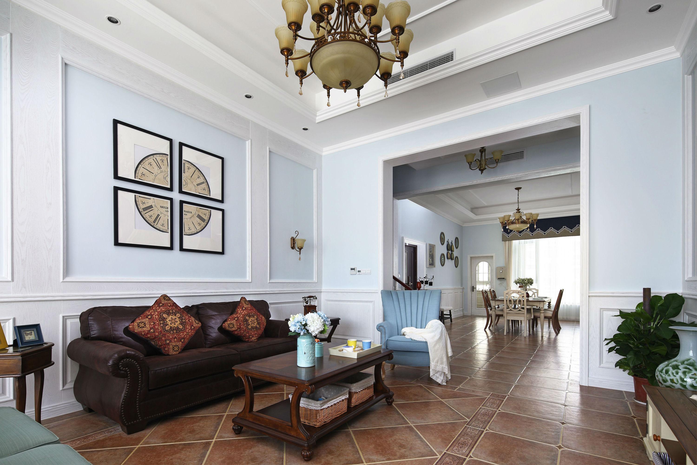 136平美式风格客厅装修效果图