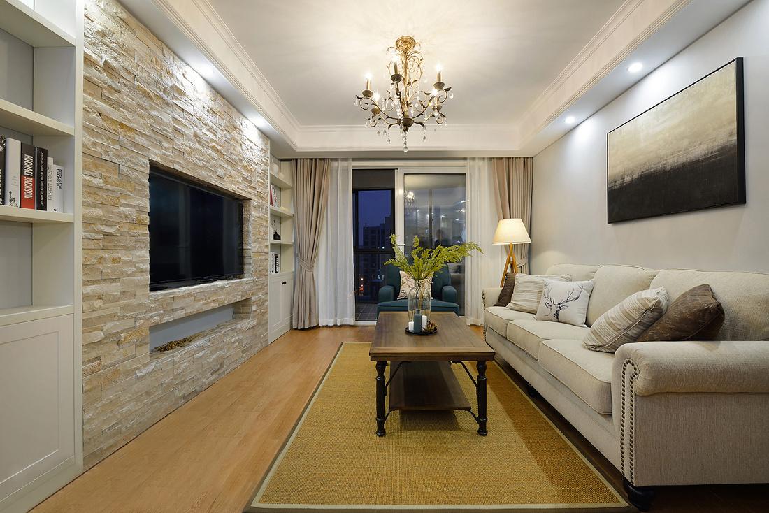 美式风格两居客厅装修效果图