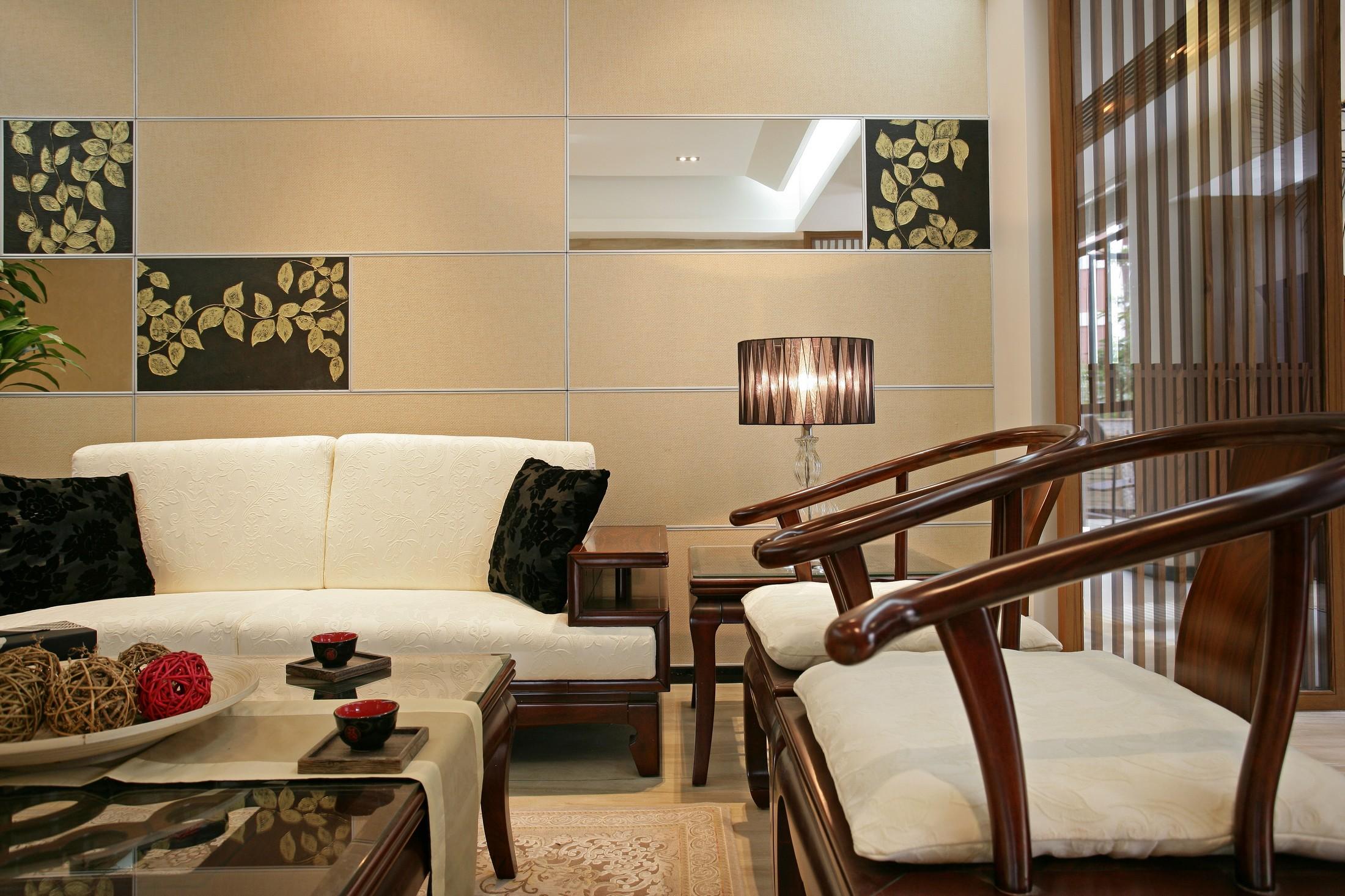 三居室中式风格沙发背景墙装修效果图