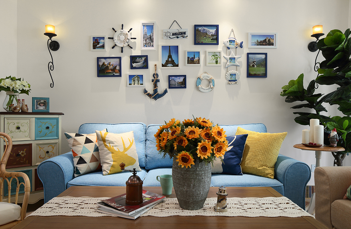 二居室地中海风格沙发背景墙装修效果图