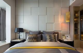 现代简约样板间卧室背景墙装修效果图