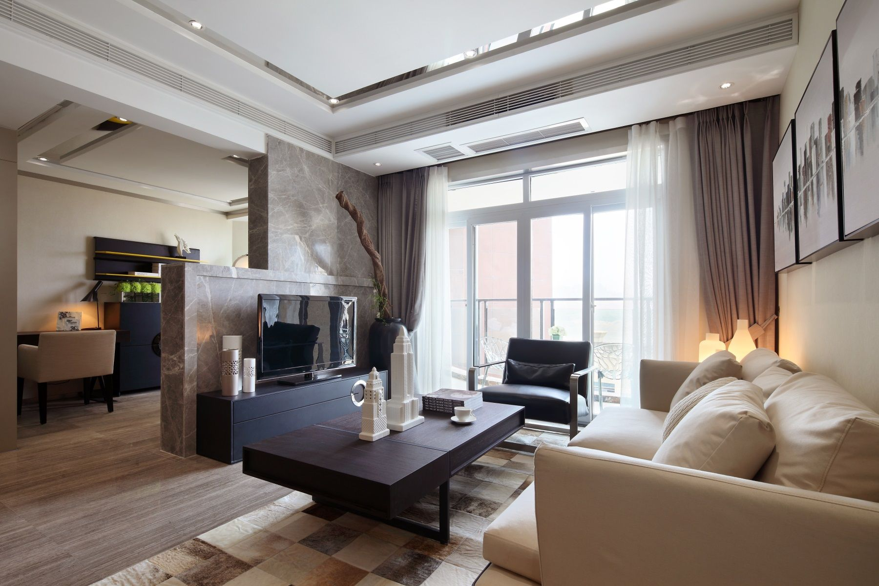 65㎡现代一居室客厅装修效果图