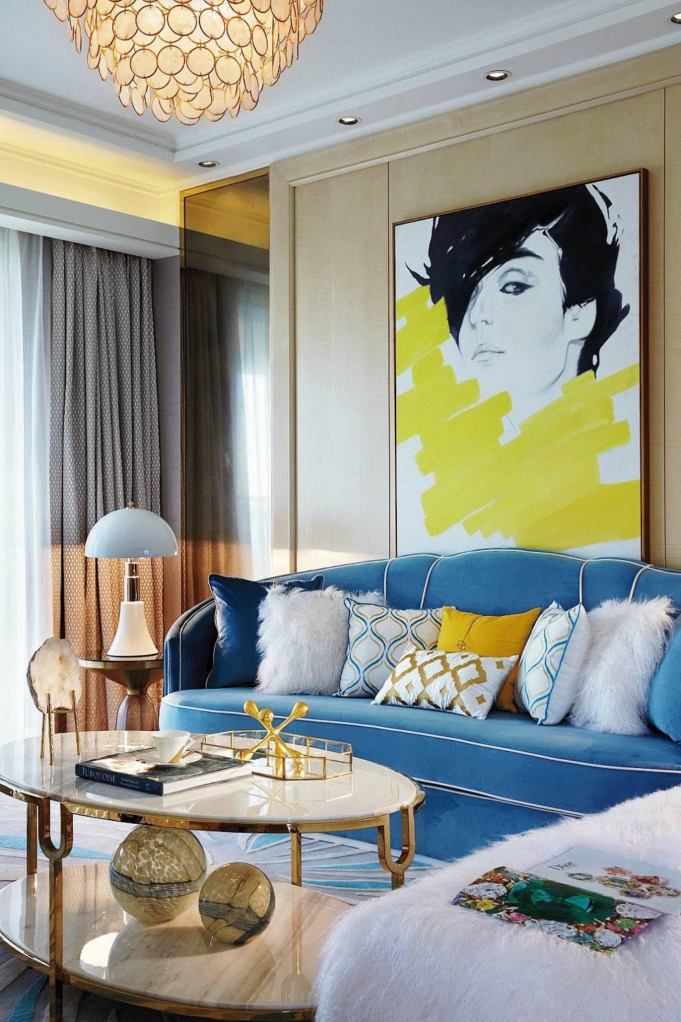 摩登时尚样板间装修沙发设计图