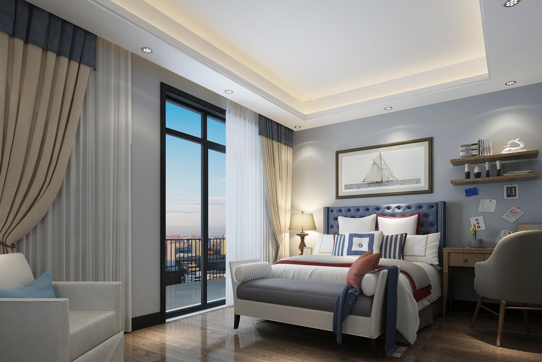 蓝灰色卧室装修效果图