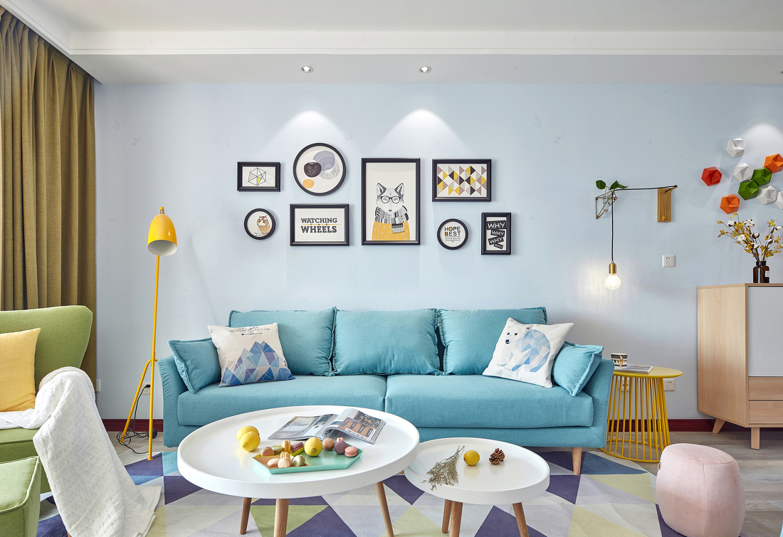 102平北欧风格沙发背景墙装修效果图
