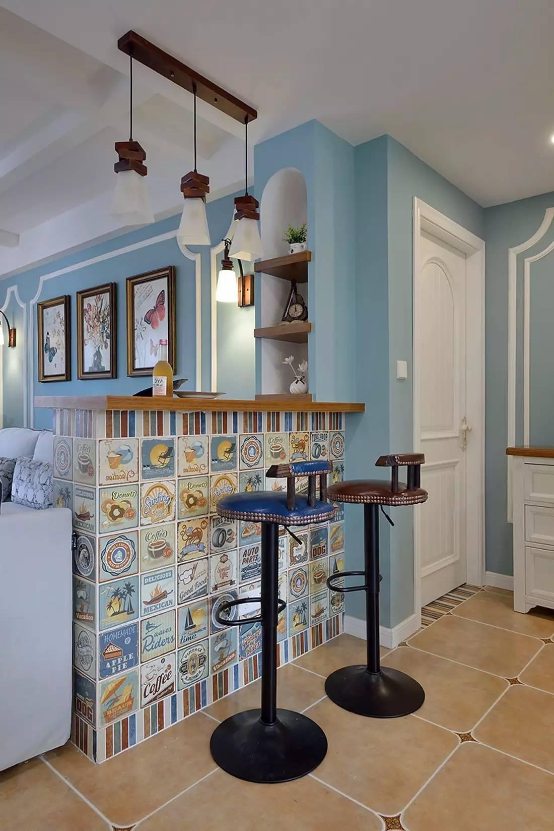 蓝色美式风格吧台装修效果图