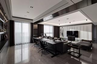 黑白灰现代公寓客厅装修效果图