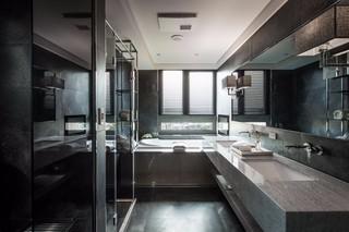 黑白灰现代公寓卫生间装修效果图