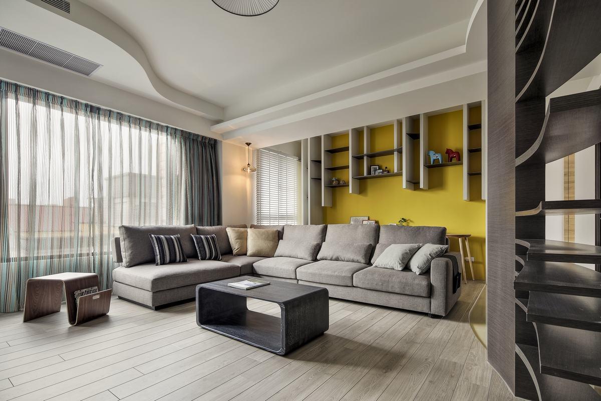 现代简约三居客厅吊顶装修效果图
