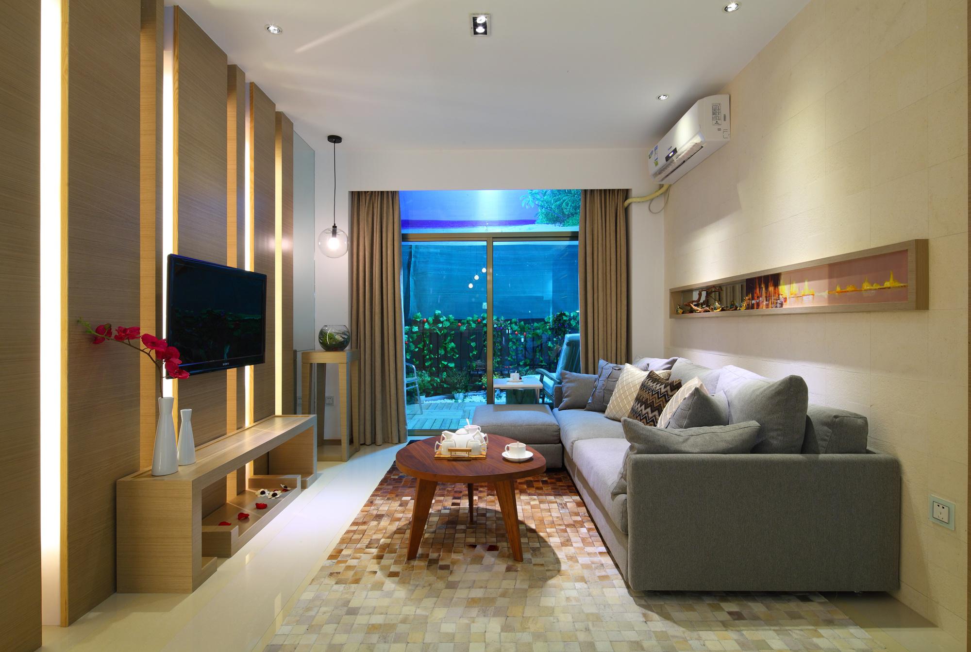 二居室现代简约客厅装修效果图