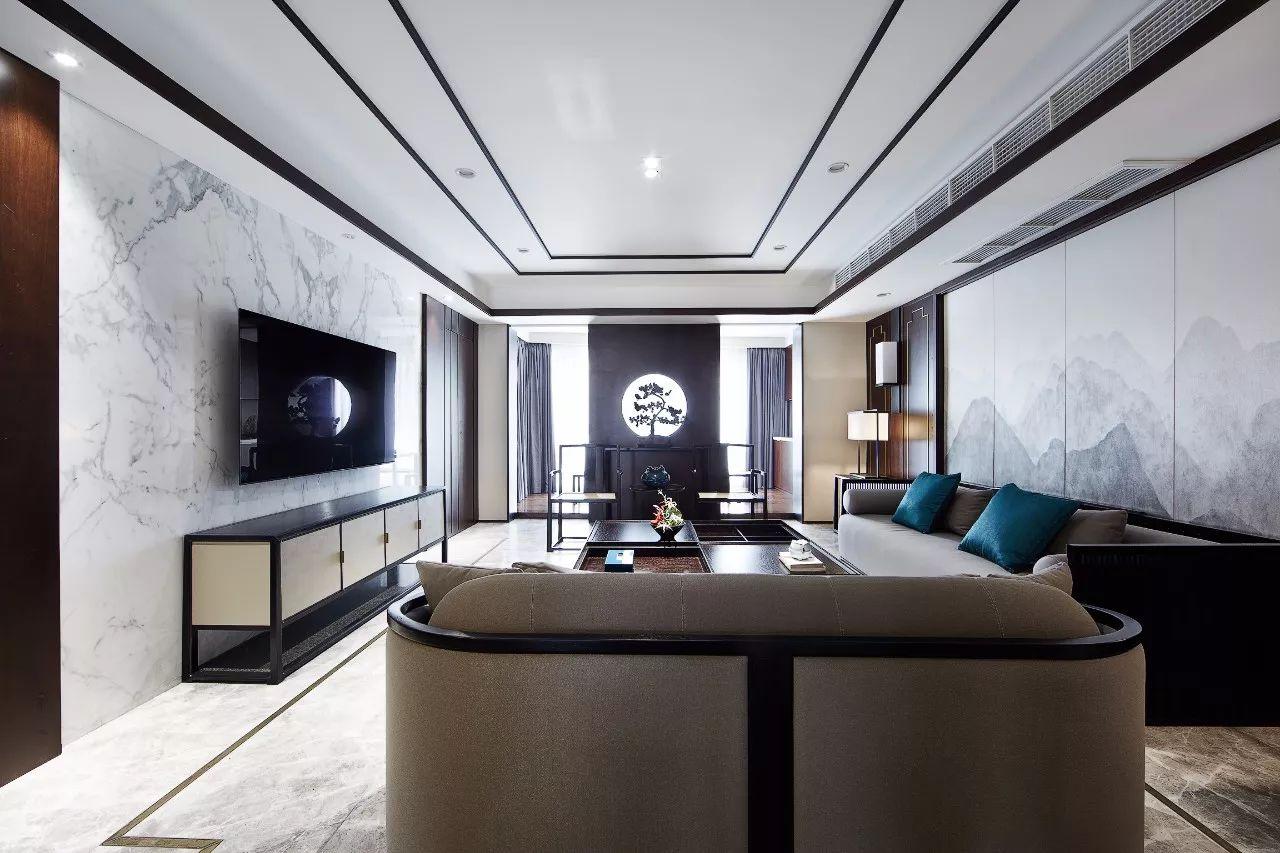 大户型新中式风格客厅装修效果图