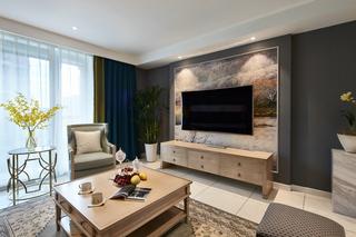 110㎡现代美式三居电视背景墙装修效果图