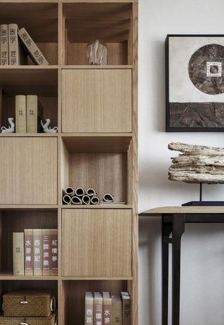 三居室新中式风格书柜装修效果图