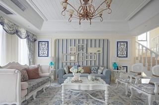 地中海风格别墅沙发背景墙装修效果图