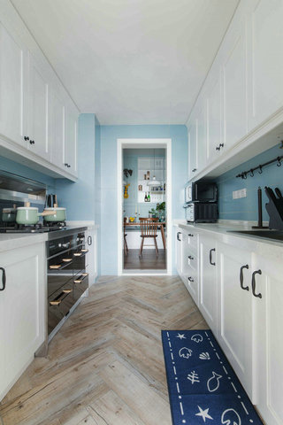 蓝色北欧风格三居厨房装修注册送300元现金老虎机图