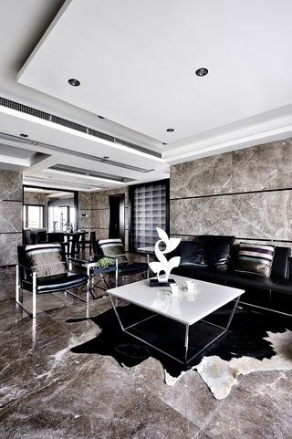 现代简约黑白灰客厅装修效果图