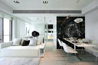 黑白现代简约公寓装修效果图