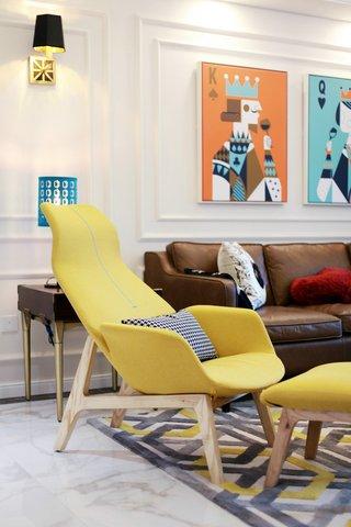 132㎡时尚混搭风装修黄色沙发椅设计