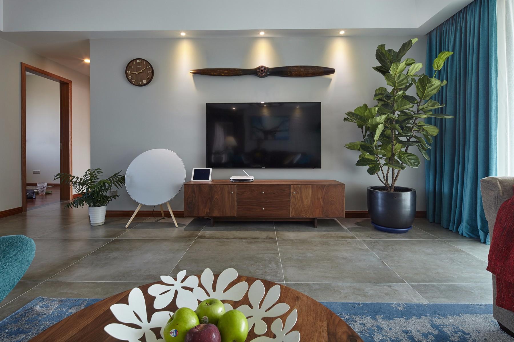 185平米混搭风格电视背景墙装修效果图