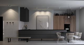 灰色调二居室公寓厨房装修效果图