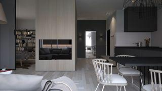 灰色调二居室公寓电视墙装修效果图