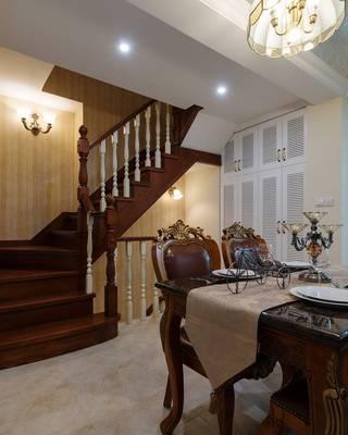 美式古典别墅楼梯装修效果图