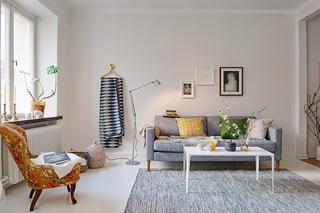 小户型白色北欧风公寓沙发背景墙装修效果图