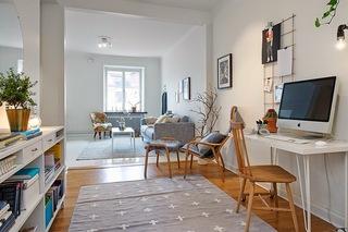 小户型白色北欧风公寓书房装修效果图
