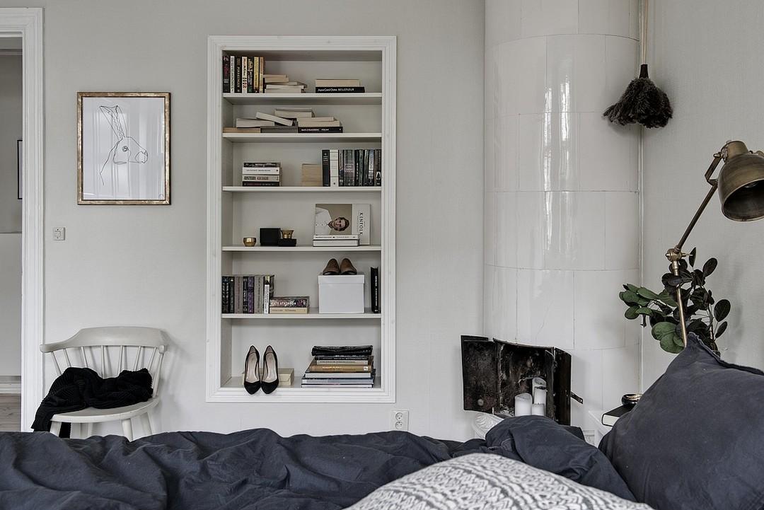 65㎡北欧风公寓书架装修效果图