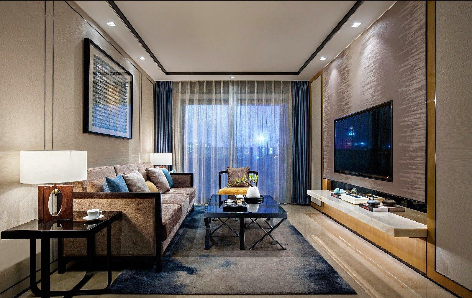 三居室现代中式客厅装修效果图