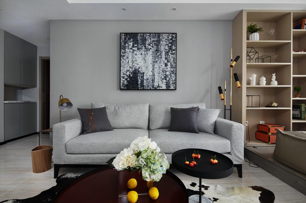 现代简约三居室沙发背景墙装修效果图