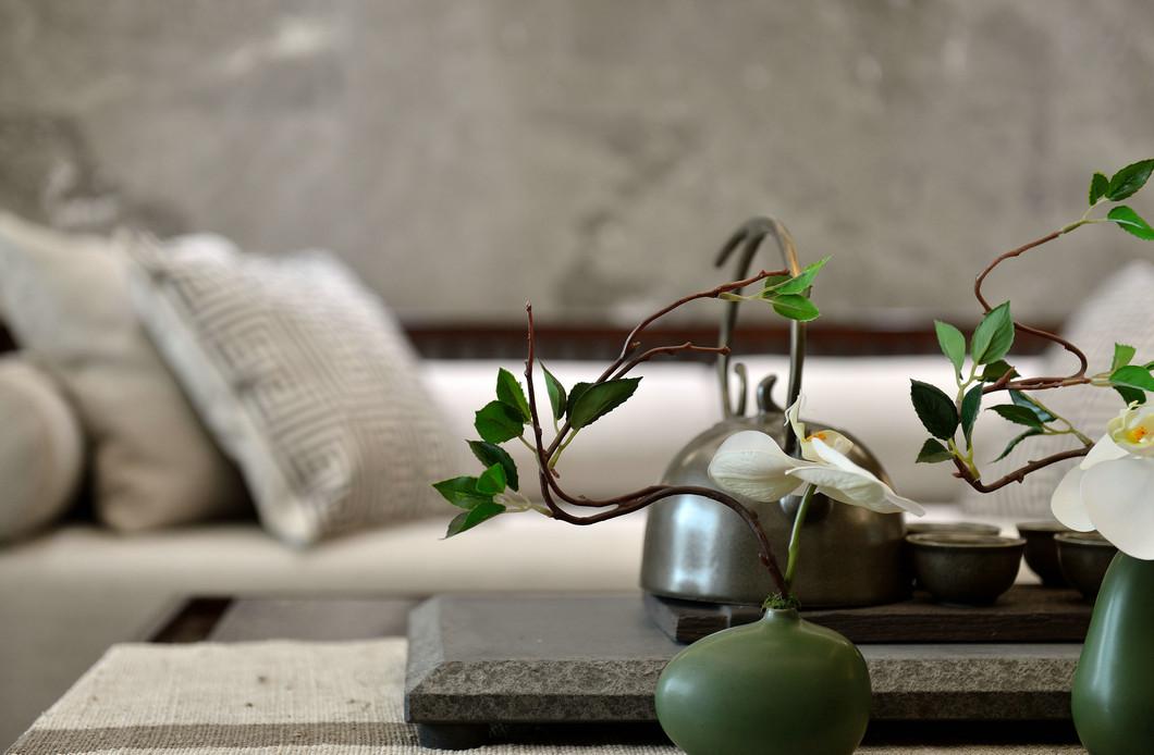 大户型新中式样板房装修茶几小景