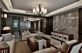 大户型新中式样板房客厅装修效果图