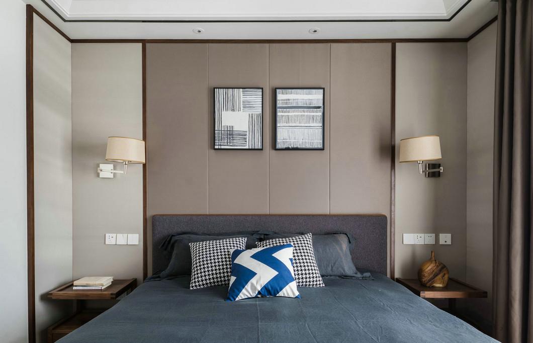 160㎡现代简约风格卧室背景墙装修效果图