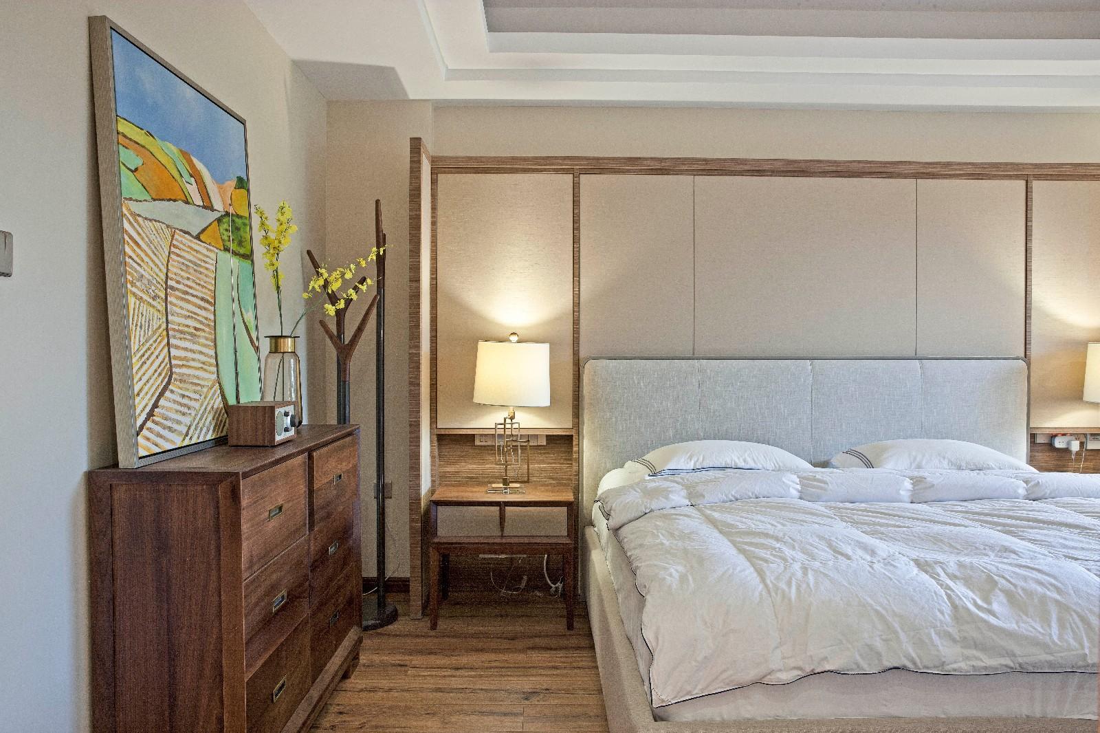现代中式混搭别墅卧室装修效果图