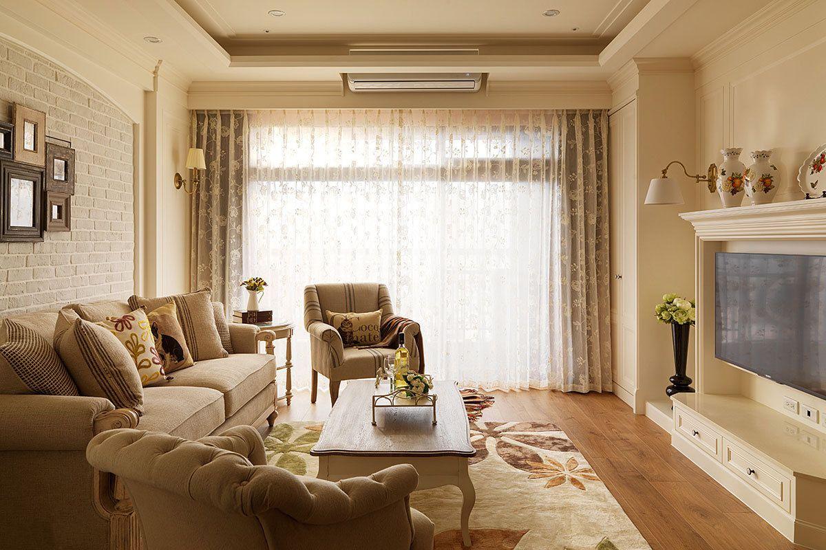 132平米美式风格客厅装修效果图