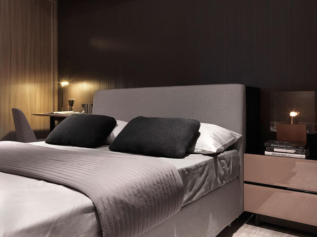 黑白灰现代简约卧室装修效果图