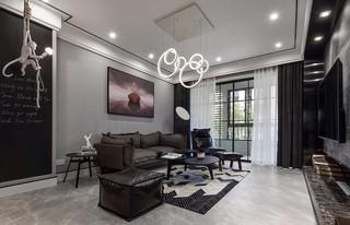 130㎡现代简约沙发背景墙装修效果图