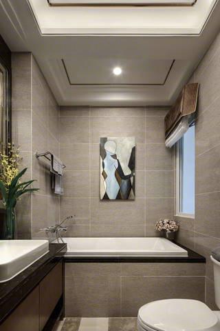 三居室现代简约样板间卫生间装修效果图