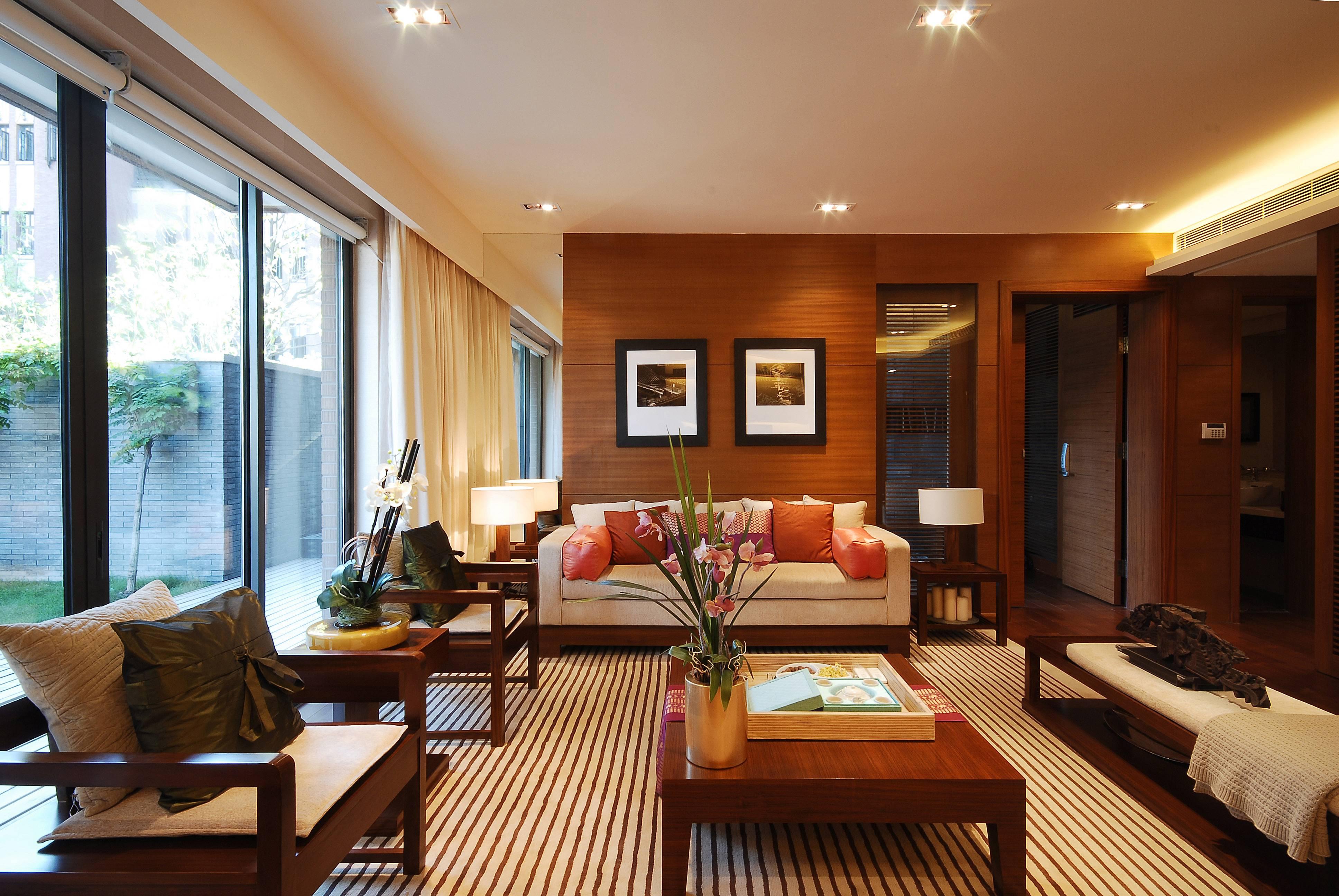 现代中式别墅沙发背景墙装修设计效果图