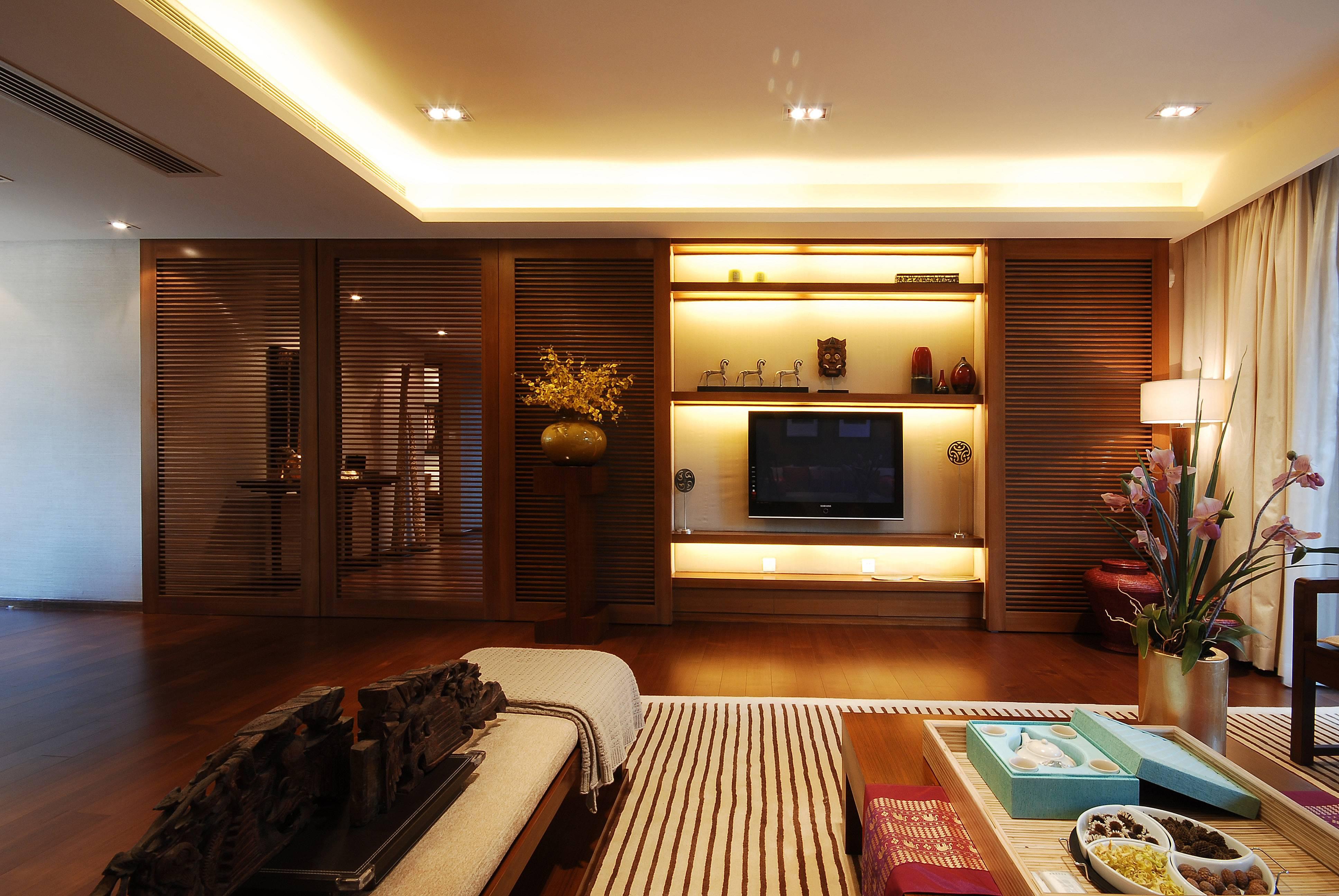 现代中式别墅电视背景墙装修设计效果图