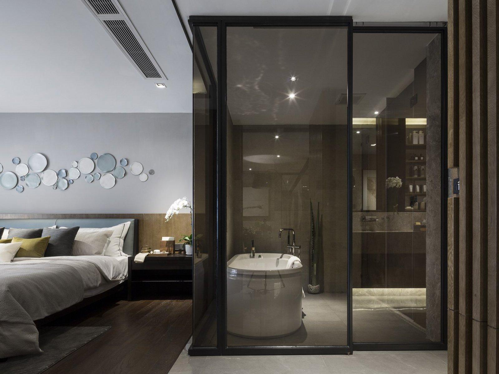 大户型现代风样板房玻璃门隔断装修效果图