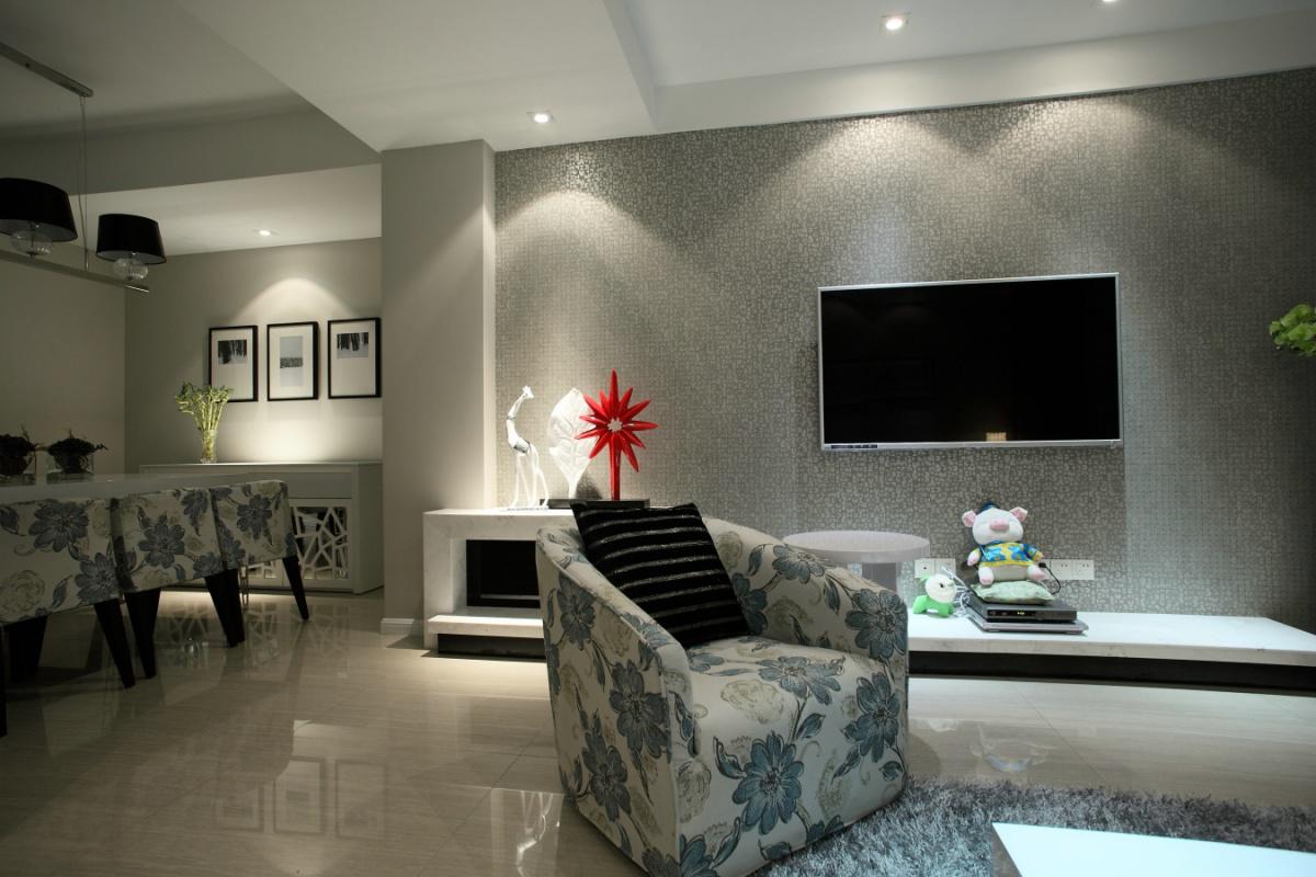 现代简约二居室电视背景墙装修效果图