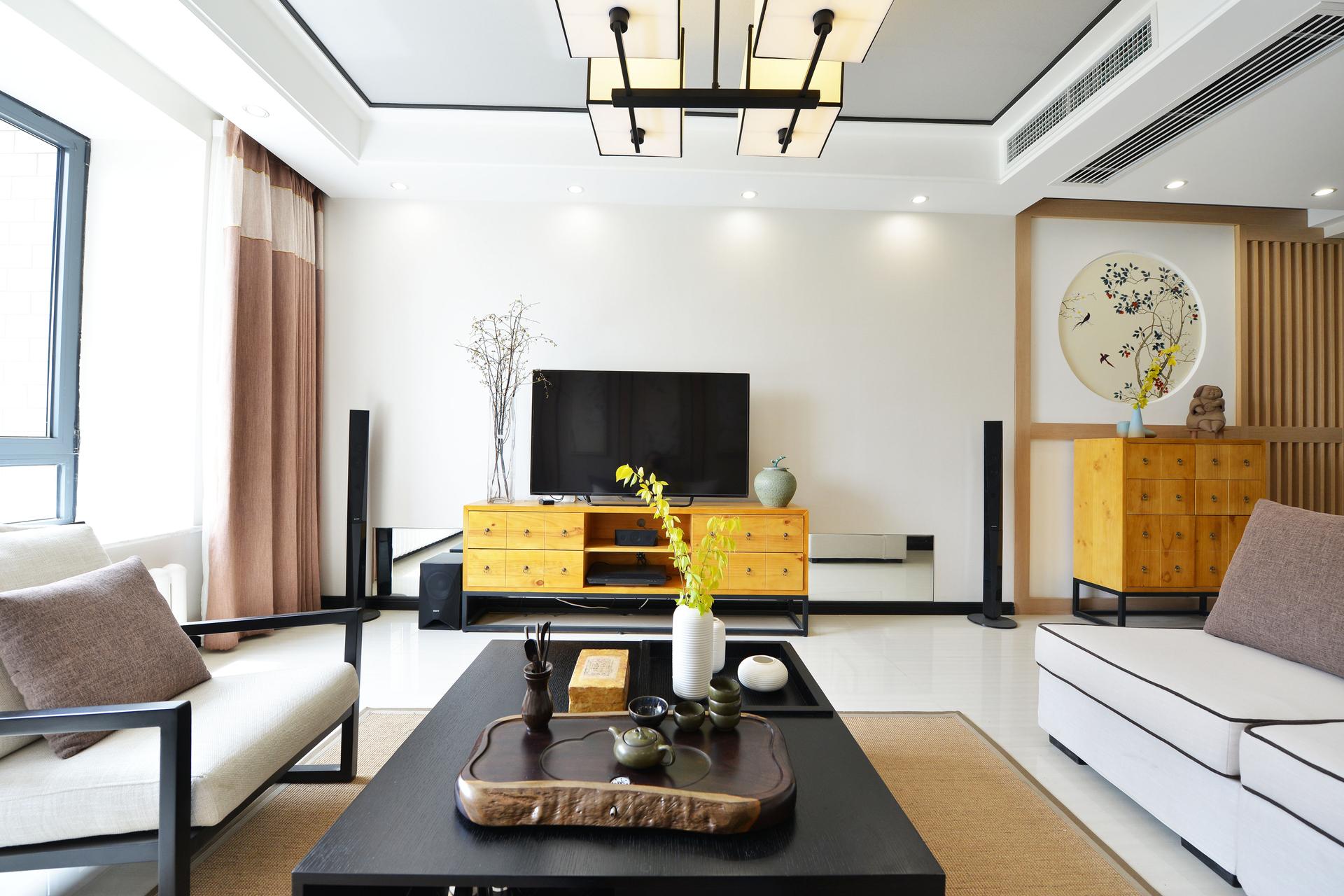 120平米新中式电视背景墙装修效果图