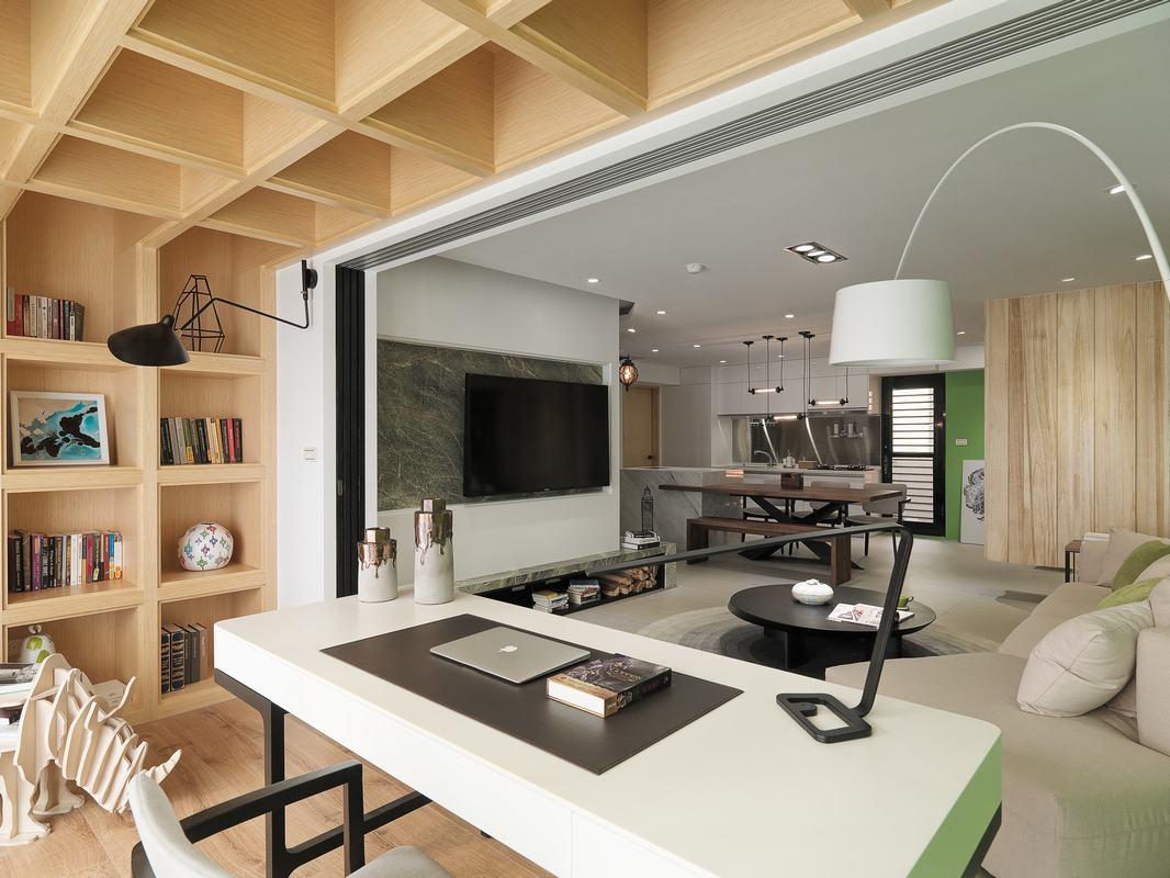 现代简约风格二居阳台书房装修效果图