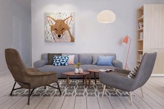 105㎡混搭风公寓沙发背景墙装修效果图